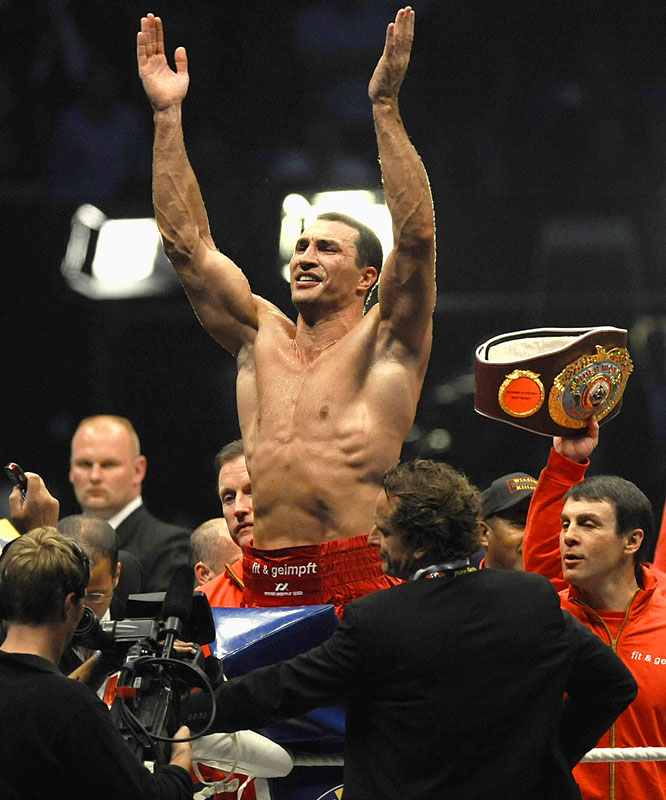 Klitschko stopped top contender Ruslan Chagaev on June 20 to add the <i>Ring</i> magazine title to his IBF and WBO belts. The ninth-round TKO before 61,000 fans at Germany's Veltins-Arena marked the 11th consecutive victory for Klitschko, who hasn't lost in more than five years.