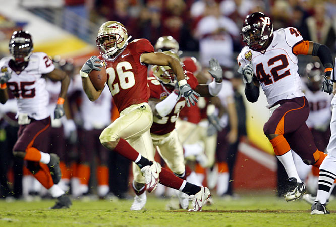 A 27-22 win over Virginia Tech in the inaugural ACC title game gives Bowden his final conference title.