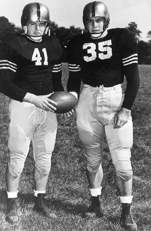 "Army's ""Mr. Inside"" (right) was the first player to win the award as a junior in 1945. As a senior he missed his first two games with a knee injury and finished fourth in the voting, won by teammate Glenn ""Mr. Outside"" Davis."