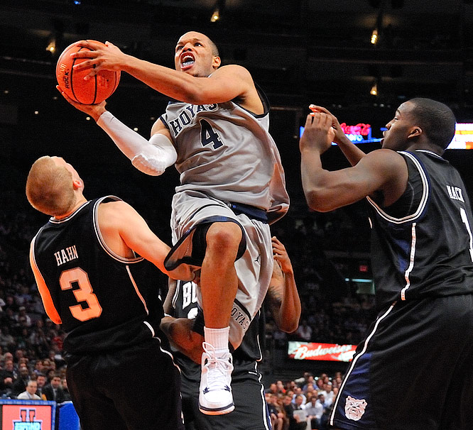 Chris Wright of No. 15 Georgetown splits the defense during the Hoyas' 72-65 win over No. 22 Butler in the Jimmy V Classic at Madison Square Garden on Dec. 8.