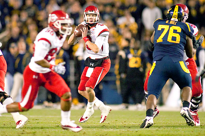True freshman Jordan Wynn (left) threw for a career-high 338 yards and three touchdowns to rally No. 23 Utah from an early two-touchdown deficit. The Utes scored 27 straight points to win their ninth straight bowl game.