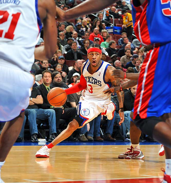 Allen Iverson drives against the Detroit Pistons in his second game back in a Sixers' uniform. Detroit won 90-86.