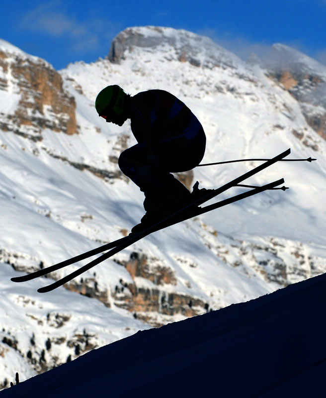 An unidentified skier takes part in the first training session of the men's World Cup downhill on Dec. 16 in Val Gardena, Italy. Austria's Michael Walchhofer clocked the best time.