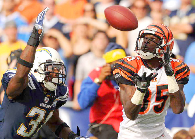 Cincinnati wideout Chad Ochocinco beats San Diego's Antonio Cromartie for a 49-yard touchdown reception in their Dec. 20 game. The Chargers won 27-24.