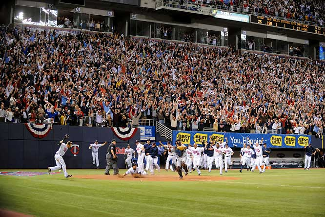On September 6, the Twins trailed the Tigers by 7 games in the AL Central, but they caught fire by winning 16 of 20 to force a one-game tiebreaker in Minnesota with the Tigers. In the last game at the Metrodome before their move to a new ballpark next season, the Twins rallied to tie the game in the 10th inning and won in the 12th on a base hit by Alexi Casilla.