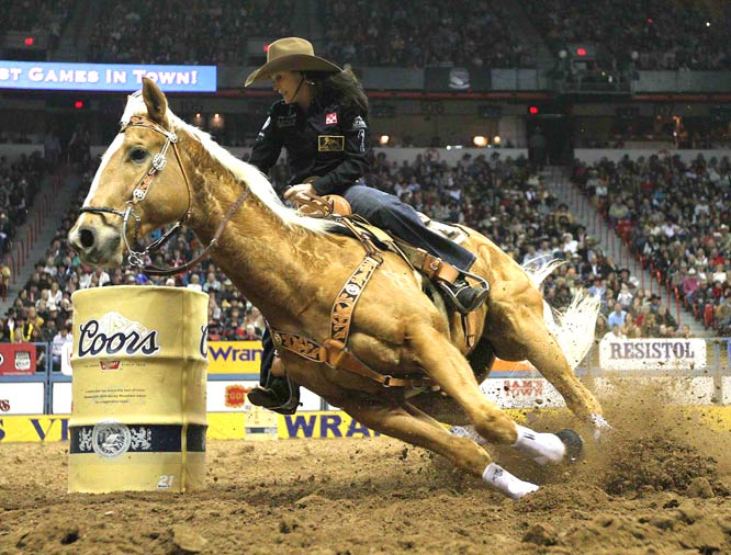 Brittany Ponzi from Victoria, Texas, during the 10th round of Barrel Racing at the National Finals Rodeo in Las Vegas on December 11. Ponzi was named the 2009 champion for the event.
