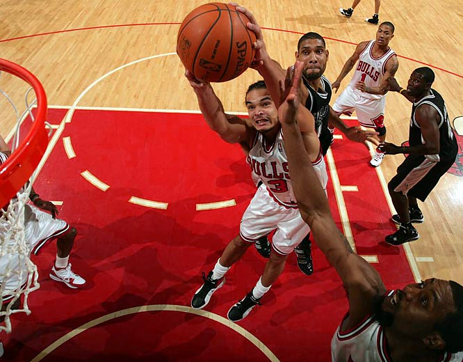 Noah has been a rare bright spot for the Bulls. After putting up decent numbers in limited minutes his first two seasons, the 6-foot-11 center has emerged to average a point-rebound double-double. His 14 offensive boards against the Lakers on Dec. 15 were the most in an NBA game in nearly six years. He already has nearly as many double-doubles this season (11) as he did in his previous two seasons combined (17).