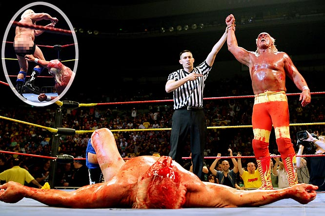 The only thing more depressing than seeing Hogan and Flair wrestling each other 20 years past their prime is watching them compensate for their age by making each other bleed and pulling down their trunks. Perhaps Hogan and Flair would be more comfortable continuing their act in the privacy of a retirement home rather than in the public eye.