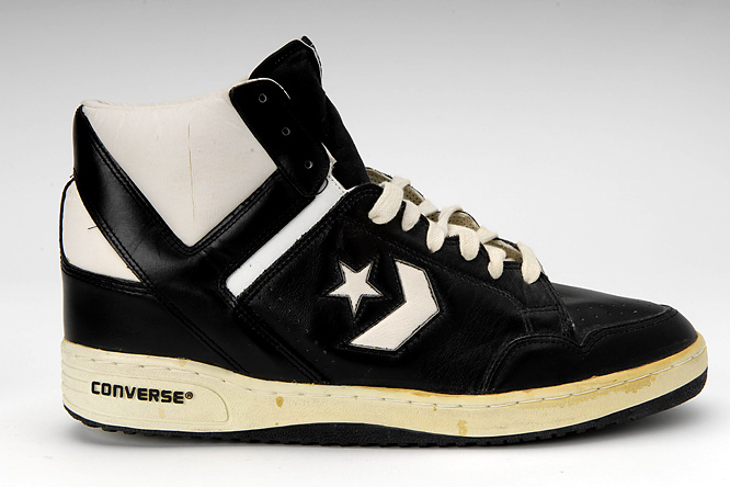 This is the Converse Weapon worn by Larry Bird during the 1986 season. It is on display at the Basketball Hall of Fame.