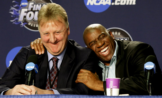 Magic Johnson and Larry Bird share a laugh at a news conference before the 2009 NCAA championship game between Michigan State and North Carolina.