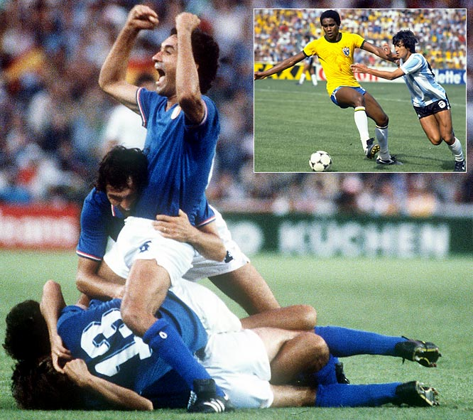 In the last World Cup that featured a second-round group stage (in 1986, the current second-round knockout format was adopted), Group C was the epitome of a Group of Death. The second round table consisted of three teams -- Argentina, Brazil and Italy -- that, among them, had won six of the 11 Cups played. The reigning champs, led by their midfield virtuoso Diego Maradona, bowed out winless while Brazil and Italy played what is widely considered one of the greatest matches in the history of the World Cup, a 3-2 Italy victory. Italian striker Paolo Rossi, who had not scored until that game, exploded for a hat trick, each time one-upping the irrepressible Brazilians' exquisite style of play. Rossi continued his scoring tear with three more, carrying the defensive-minded Italians to their third World Cup title, matching Brazil as the most successful country.
