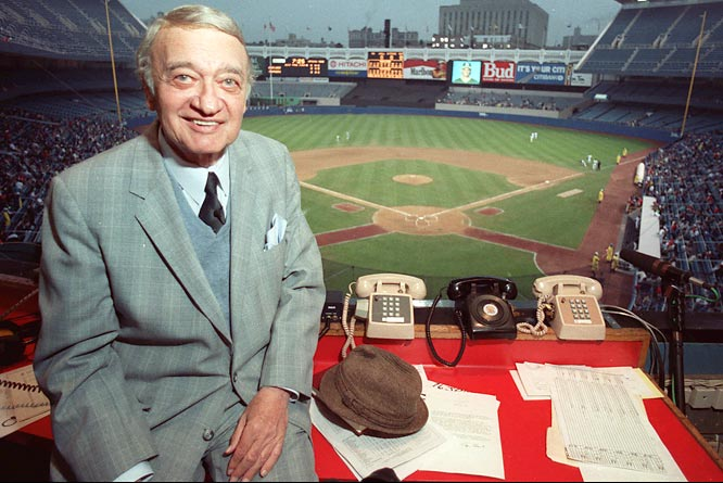 The Yankees fire long time television and radio voice Mel Allen (pictured here in 1990). This well known broadcaster popularized the 'going, going, gone' home run call and often said 'how about that' to describe happenings on the ball field.