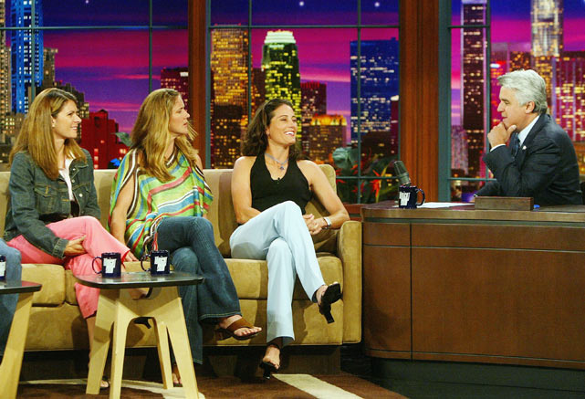 Olympic soccer stars players Mia Hamm, Brandi Chastain and Julie Foudy appear with Leno before leading the U.S. team to gold in Athens.