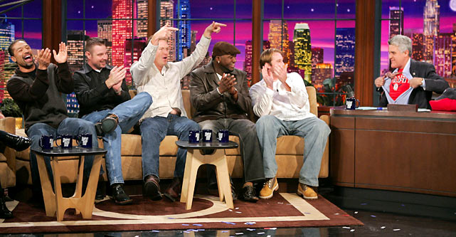 "Dave Roberts, Alan Embree, Mike Timlin, David Ortiz and Derek Lowe share a laugh after Leno reveals a ""Big Papi"" T-shirt during the Red Sox's visit following their World Series victory."