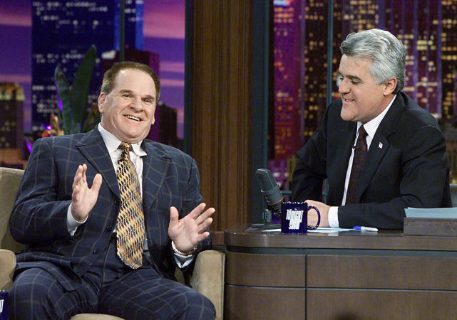 After publicly admitting that he bet on baseball, Pete Rose chats with Leno about his desire to be reinstated into the game and perhaps manage another team.