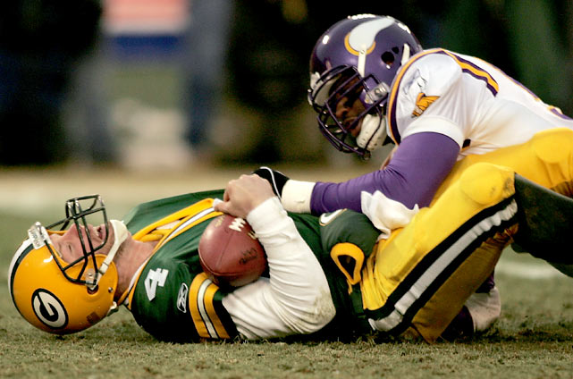 After winning both regular season games against Minnesota, Green Bay was heavily favored against the 8-8 Vikings in the their first ever playoff matchup. But Daunte Culpepper had other ideas. The Vikings QB threw four touchdowns without an interception. Favre, meanwhile, threw four interceptions to one touchdown as the Vikings won 31-17.