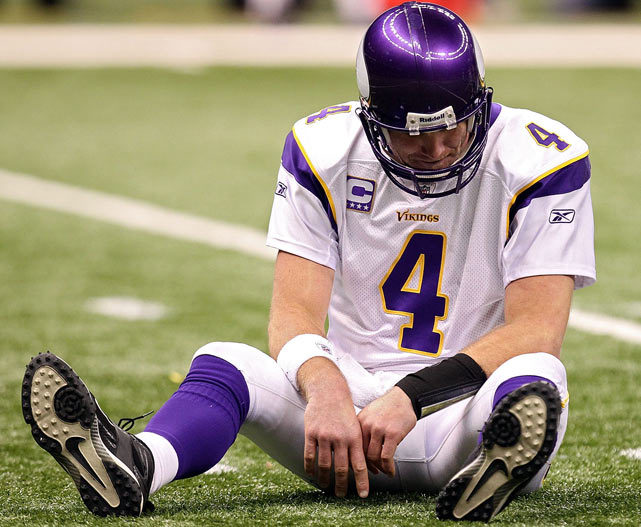 Favre joined the Vikings at age 39 to win a Super Bowl, and as he drove his Vikings down the field late in the fourth quarter of the NFC title game, it seemed like destiny was smiling on the Mississippi native. But on third down from the Saints' 38, Favre attempted a difficult across-the-body throw to Sidney Rice, which Saints cornerback Tracy Porter intercepted to force overtime. The Saints won the coin toss and subsequently the game, much to Favre's chagrin.