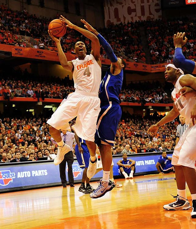 Jim Boeheim hasn't taken many transfers during his time at Syracuse, but it's no wonder that he warmly welcomed Johnson, who played his first two years at Iowa State. As one of the most versatile and unselfish players in America, Johnson leads 20-1 Syracuse in points (17.1) and rebounds (9.0) and ranks second in steals (2.4) and blocks (1.9). Johnson's a key component in the Orange's 2-3 zone, which has been as effective as ever this season.
