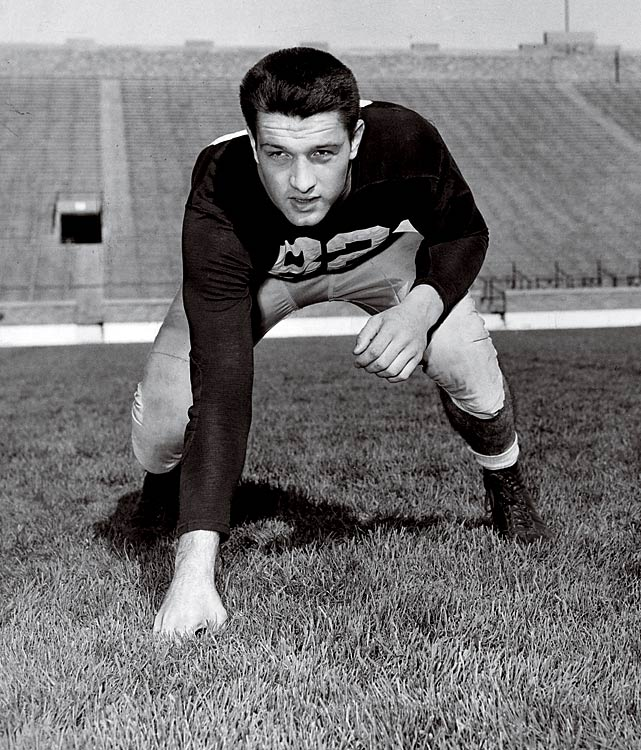 End Leon Hart was part of a Notre Dame recruiting class that never lost a game and won or shared three national titles. Hart was the most decorated member of the class; he won the 1949 Heisman Trophy.