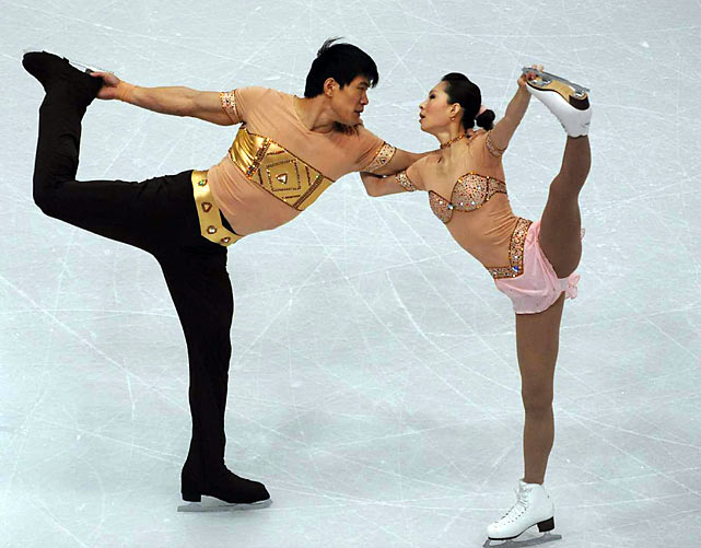 To television audiences, Zhang and Zhang are perhaps best remembered for their free skate at the Turin Olympics, when a botched quadruple throw Salchow sent Zhang Dan into the sideboards, tearing ligaments in her left knee. The pair, who are not related, held on not only to finish the performance but to win the silver medal as well. The daring and athletic duo, who were the first to perform a quadruple twist at the junior world championships in 2000, have three world silvers and one bronze at the senior level. They have also medaled at each of their seven trips to the Four Continents Championships, winning twice (including in Jeonju City, South Korea last weekend).