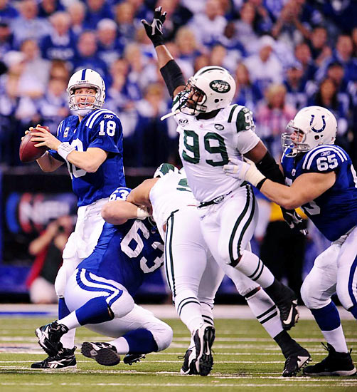 Peyton Manning threw for 377 yards and three TDs against the Jets, earning the second Super Bowl berth of his illustrious career.