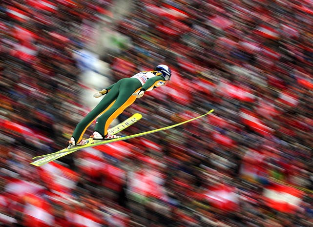 Gregor Schlierenzauer of Austria competes during the qualification' s jump at the FIS World Cup Four Hills competition in Innsbruck on Jan. 3.