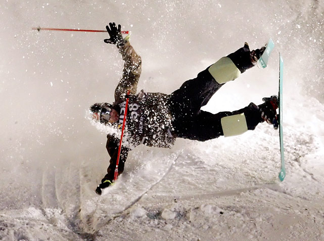 Dmitriy Barmashov of Kazakhstan crashes in the Mogul preliminaries during the FIS Freestyle Skiing World Cup on Jan. 16 at Deer Valley Resort in Park City, Utah.