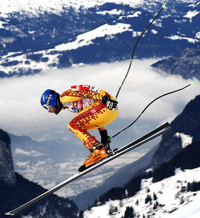 Manuel Osborne-Paradis of Canada jumps during the FIS World Cup downhill in Wengen, Switzerland, on Jan. 16. Osborne-Paradis finished second in the event.