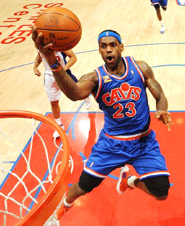 LeBron James of the Cleveland Caveliers goes for a layup against the Los Angeles Clippers during their game at the Staples Center on Jan. 16. James had 32 points in the 102-101 victory.