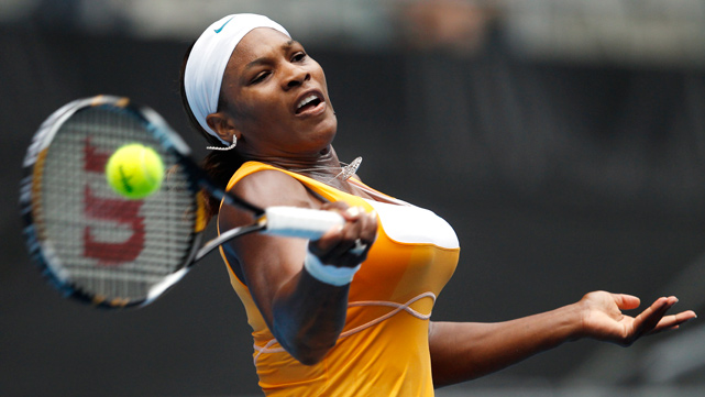 Serena Williams returns to Petra Kvitova of the Czech Republic in their second-round match at the Australian Open in Melbourne on Jan. 21. Williams won 6-2 6-1.