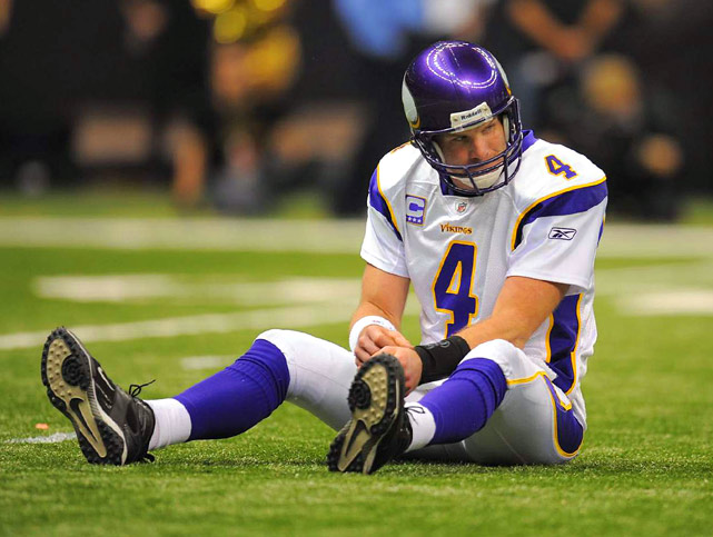 Minnesota Vikings quarterback Brett Favre was on his backside a lot during the NFC Championship game against the Saints in New Orleans.