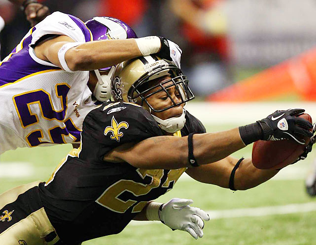 New Orleans running back Pierre Thomas stretches across the goal line for a touchdown in the third quarter of the NFC Championship game at the Superdome in New Orleans on Jan. 24. The Saints will face the Indianapolis Colts in Super Bowl XLIV in Miami on Feb 7.