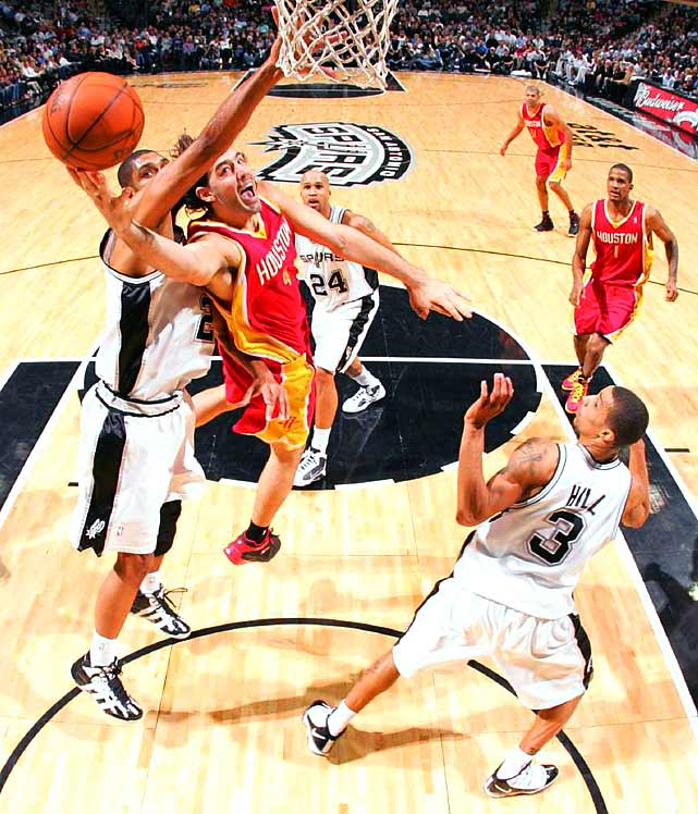 Luis Scola helped the Houston Rockets defeat Tim Duncan and the Spurs 116-109 on Jan. 22 at the AT&T Center in San Antonio.