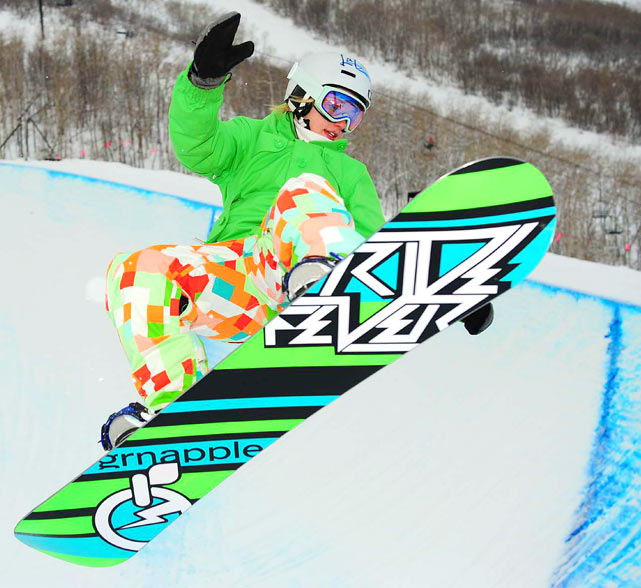 Clair Bidez practices on the half pipe on Jan. 20 during a training run for the U.S. Snowboarding Grand Prix competition in Park City, Utah.