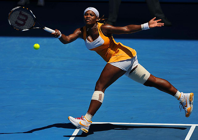 Serena Williams hits a forehand against Li Na of China during her 7-6 (4), 7-6 (1) victory in the semifinals of the Australian Open on Jan. 28. Williams went on to defeat Justine Henin in the final to win her fifth Aussie Open title.