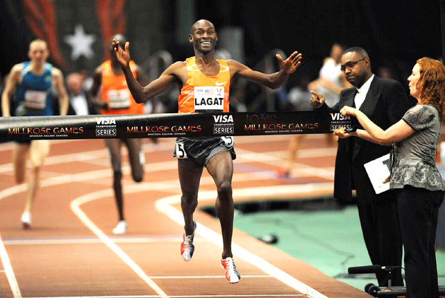 Bernard Lagat of the United States wins the Wanamaker Mile for a record eighth time at the Millrose Games.