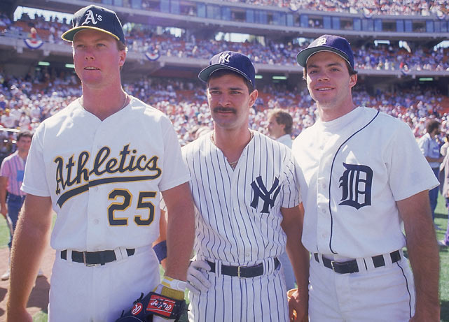 McGwire poses with Don Mattingly and Matt Nokes during the 1987 All-Star Game at Oakland Coliseum.