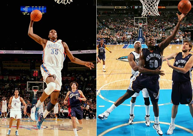 The Thunder and the Grizzlies won 23 and 24 games, respectively, last season, but this season they've both emerged as legitimate playoff contenders. For OKC, Kevin Durant has blossomed into a star who not only scores a lot of points but also makes a difference on the defensive end. For Memphis, Zach Randolph is having an All-Star season in support of the young core of Marc Gasol, O.J. Mayo, Rudy Gay and Mike Conley.