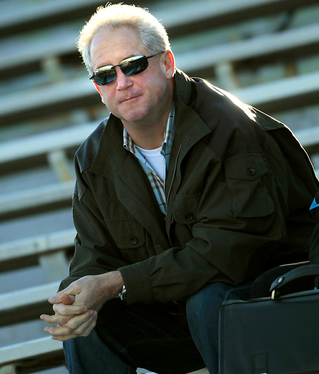 Carolina Panthers head coach John Fox checks out the action at the North team practice. The Panthers do not have a first-round pick in the 2010 draft, having traded it to the 49ers.