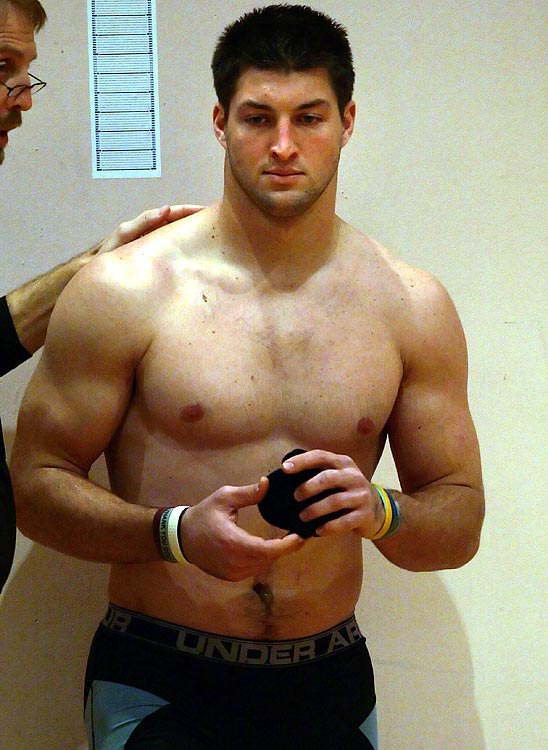 Some of the top senior college football players are in Mobile, Ala., this week for the 2010 Under Armour Senior Bowl. With scouts and coaches from NFL teams in attendance, the players practice throughout the week, culminating in Saturday's game. Here former Florida quarterback Tim Tebow goes through his weigh-in.