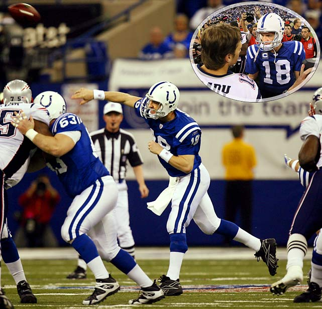 The Patriots owned Peyton Manning and the Colts early in the decade and seemed well on their way to another Super Bowl title, leading 21-3 early. But in perhaps Manning's finest moment, he refused to be denied. Trailing 34-31 with barely three minutes remaining, Manning took his team to the winning touchdown drive in a blur, covering 81 yards in barely a minute. The Colts went on to beat the Bears for Manning's only Super Bowl championship thus far.<br><br>Send comments to siwriters@simail.com