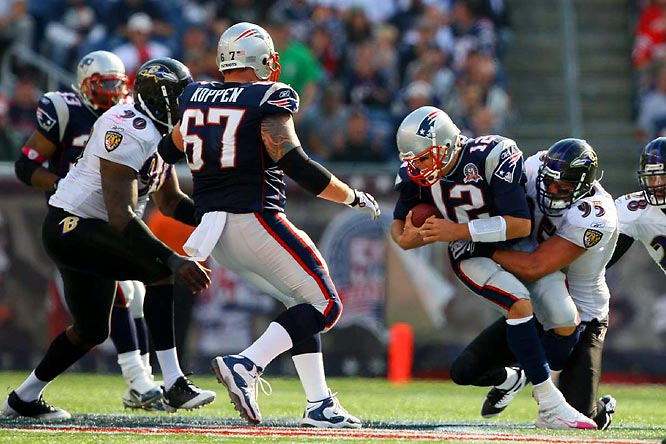 Tom Brady has busted ribs and a broken finger on his throwing hand. The Patriots' offensive line has been protecting their franchise quarterback superbly of late, giving up just one sack over the final five weeks of the season. The Ravens' end and linebacker, however, have quietly had terrific seasons rushing opposing quarterbacks, combining for a dozen sacks. If rookie tackle Sebastian Vollmer and veteran Nick Kaczur flinch, Brady could be in a world of hurt, literally.
