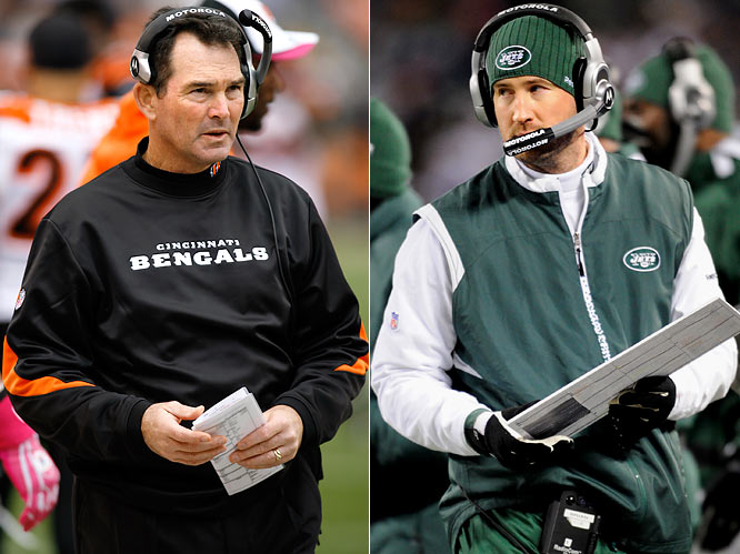 There's a lot of football pedigree in this matchup. Both are sons of coaches and both are innovative football minds who have transformed the way the NFL views their teams' respective units. Zimmer's charge this week is to figure out the Jets' wildcat formation and success with Brad Smith, who torched the Bengals for 92-yards on just four carries Sunday night. Schottenheimer clearly will search for ways to counter-attack, more than likely by using success rushing the ball to gameplan a safe, effective play-action air attack utilizing quarterback Mark Sanchez.