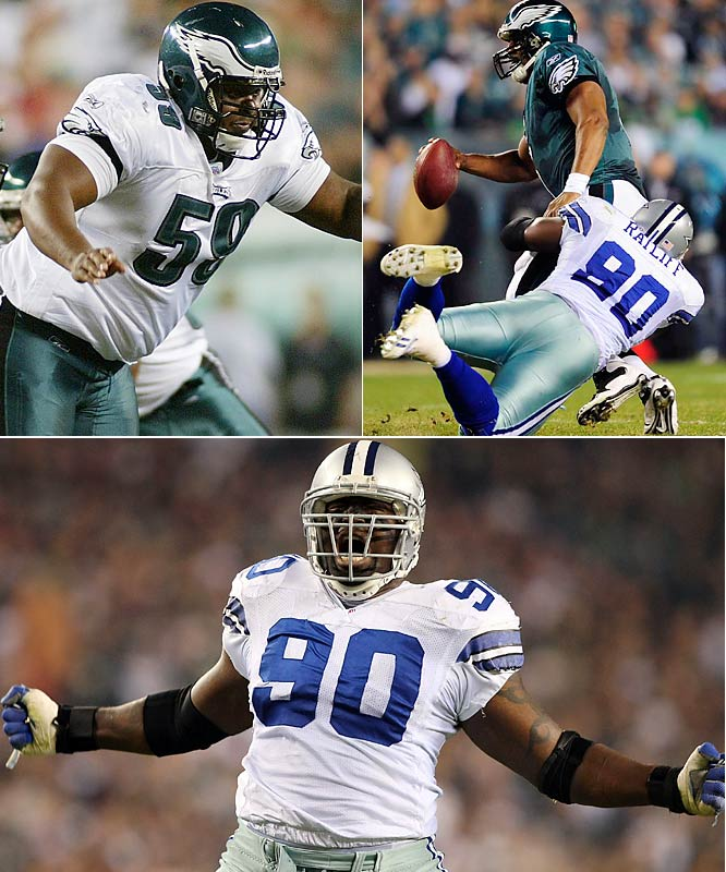 The Eagles have not been a good running team in 2009 (22nd in the league). Things got much worse when center Jamaal Jackson was lost for the season with a torn ACL in Week 16, with Cole (far left) having to switch to center and Jean-Gilles went to guard. That's not a recipe for success against the agile Pro Bowler Ratliff and the Cowboys' D-line. Cole had a costly bad snap in Sunday's loss and quarterback Donovan McNabb was sacked four times.