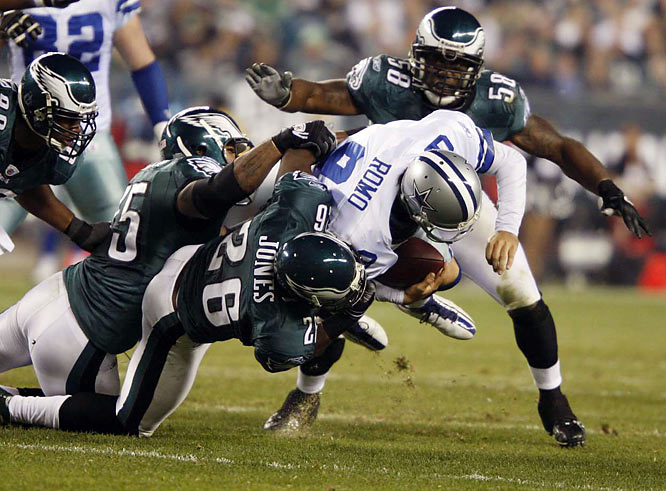 Could it get any worse for the Eagles than the 24-0 beat-down they took on Sunday? No, probably not. Thus, as much as Romo has become proficient at reading blitzes and exploiting them, expect Philly to be blitzing as soon as they get off the bus this time around. It is a risk, no doubt. But Romo still has yet to carry his team to a playoff win and the Eagles did snag 25 interceptions in 2009 (their most since 1999). If the Eagles can force Romo into mistakes early, perhaps they get into his head.