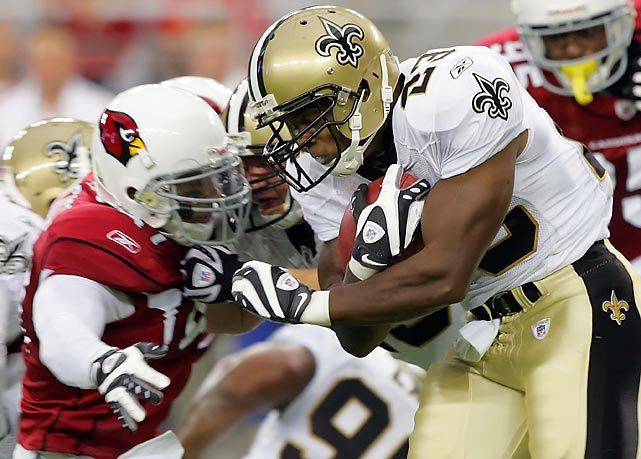 Saints coach Sean Payton will tell you his running game doesn't drop off that much without Thomas in the game. That's not true. The offense is more crisp and the ground game more efficient with Thomas, who says he will play despite three broken ribs. Reggie Bush has become a one-trick pony catching the ball and the Saints simply have not been as productive with Mike Bell carrying the load. One key carry could spell the difference in this one.