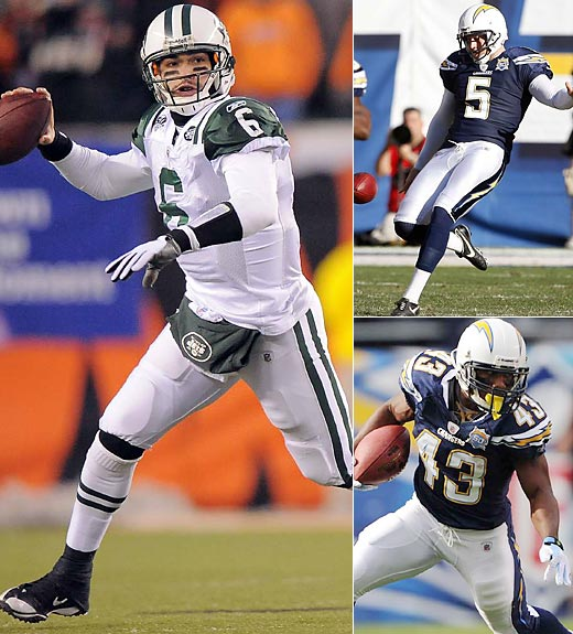 You may not think Sanchez (6) and special teams go together, but they do. The Jets are all about defense, running the ball and field position. Few teams are better at pinning opponents deep in their own territory and lengthening the field than the Chargers. A big special team play early could force the Jets to play from behind, play on a long field and make Sanchez make plays with his arm. Nate Kaeding is an exceptional kicker. Chargers punter Mike Scifres (5) would be All Pro if not for division mate Shane Lechler. Add to that tremendous kick coverage teams and Darren Sproles (43) in the return game. Advantage Chargers.