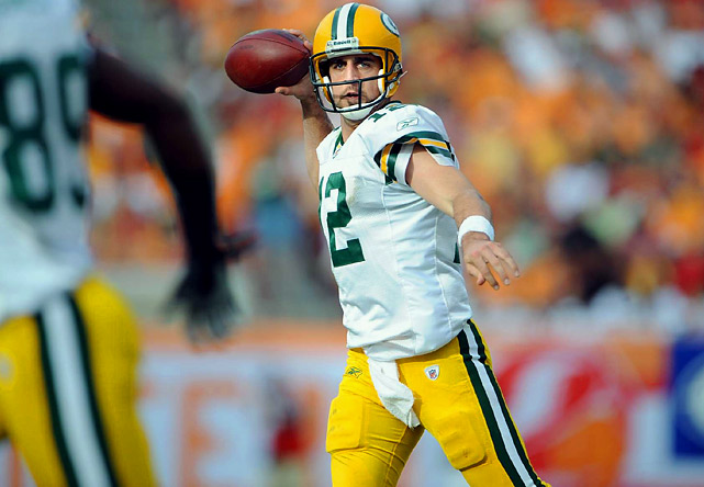 The Packer became the first quarterback to throw for 4,000 yards in each of his first two seasons as a starter. He and Kurt Warner are the only quarterbacks to throw for 4,000 in their first season as a starter. Warner, however, passed for only 3,429 the next season. Rodgers has gone for 4,038 and 4,434.