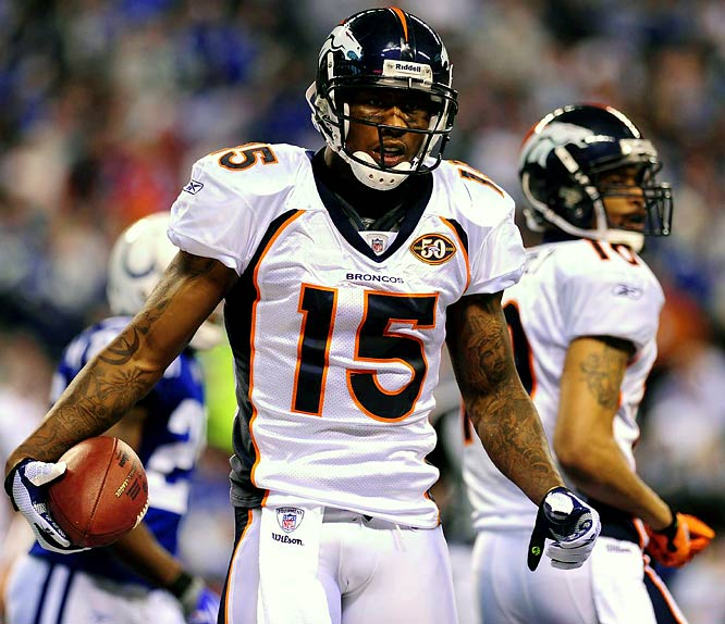 Brandon Marshall did all he could to talk and pout his way out of Denver in the preseason. But he stuck around and set an NFL record with 21 receptions in Week 13 against the Colts on a day when quarterback Kyle Orton targeted the tall receiver 28 times. Marshall broke the mark set by Terrell Owens while with San Francisco on Dec. 17, 2000.