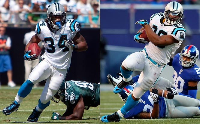 DeAngelo Williams (1,117 yards) sat out Carolina's final two games with a sprained ankle, while Jonathan Stewart (1,133 yards) finished a strong sophomore season with three straight 100-plus yard rushing performances and the team rushing lead. Williams and Stewart became the first teammates since the AFL-NFL merger to each rush for over 1,100 yards.